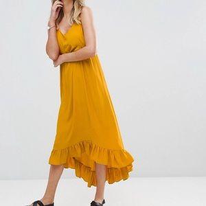 Mustard Hi Low Ruffle Hem Midi Dress